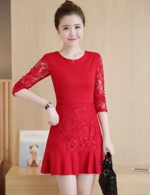 Đầm suông phối ren tay màu đỏ- B5472