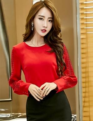 Áo kiểu nữ tay dài màu đỏ - B5505