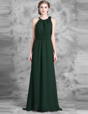 Đầm maxi cổ yếm thắt nơ màu xanh - B5540