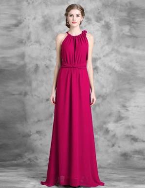 Đầm maxi cổ yếm thắt nơ màu hồng - B5541