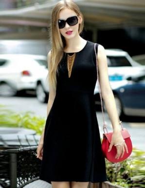 Đầm xòe dự tiệc phối phụ kiện màu đen - B5590