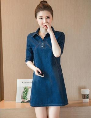 Đầm suông jean tay dài - B5621