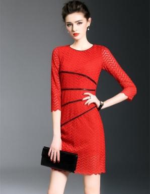 Đầm ren ôm body cao cấp màu đỏ- B5625