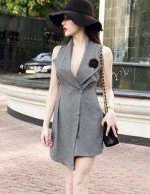 Đầm giả vest tà so le cá tính - B5767