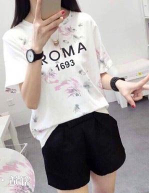 Áo thun nữ in chữ ROMA màu trắng  - B5801