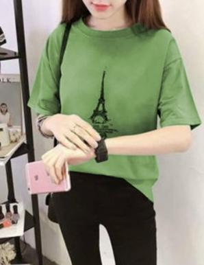 Áo thun nữ in hình tháp màu xanh rêu - B5814