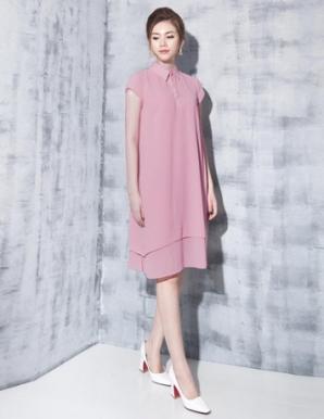 Đầm suông sơ mi màu hồng ruốc - B5968