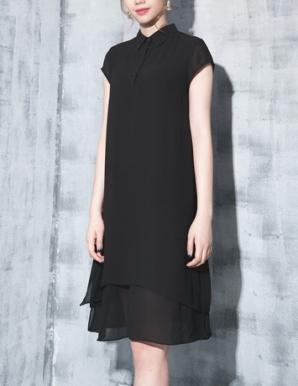 Đầm suông sơ mi màu đen - B5969