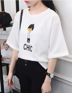 Áo thun nữ xẻ tà in hình CHIC - B5993