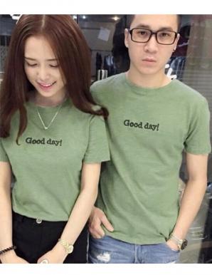Áo thun cặp tay ngắn in Good day màu xanh- B6008