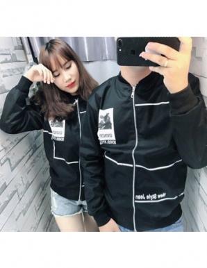 Áo khoác cặp logo phối sọc màu đen - B6107