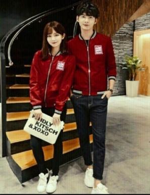 Áo khoác cặp logo phối cổ sọc màu đỏ - B6111