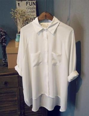 Áo sơ mi nữ form rộng phối túi màu trắng - B6126