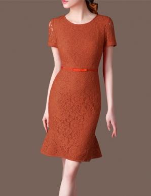 Đầm ren body tay ngắn màu đồng đỏ- B6225