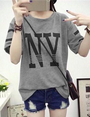 Áo thun nữ in NY màu xám - B6264