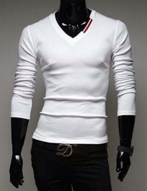 Áo thun nam cổ tim cổ sọc trắng đỏ màu trắng  - B6304