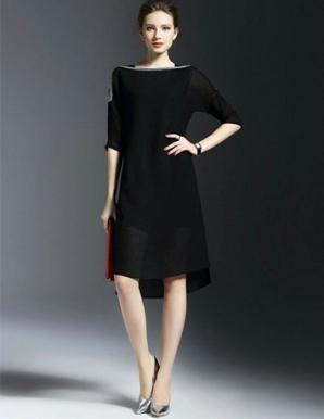 Đầm suông cổ thuyền đính cườm màu đen - B6339