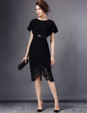 Đầm dự tiệc tay dơi phối ren màu đen - B6343
