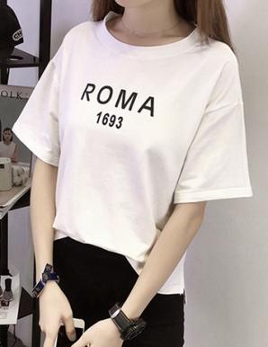 Áo thun nữ in chữ ROMA màu trắng  - B6429