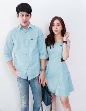 Áo váy cặp trễ vai màu xanh ngọc - B6523