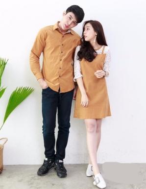 Áo váy cặp phối ren màu nâu - B6525