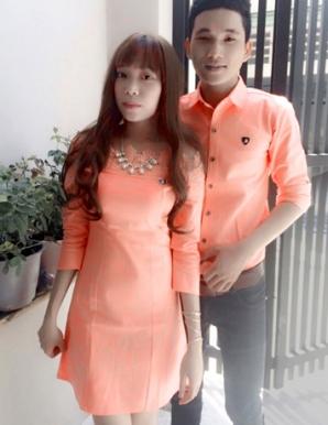 Set áo váy cặp phối ren màu cam - B6529