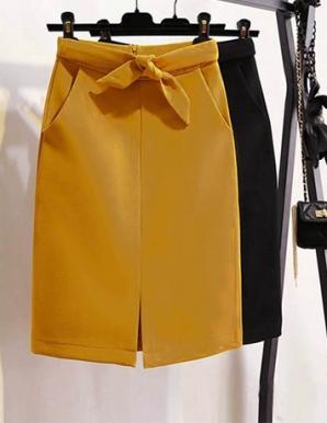 Chân váy cột nơ eo màu vàng-B6602