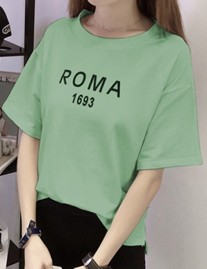 Áo thun nữ in chữ ROMA màu xanh  - B6623