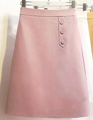 Chân váy chữ a phối nút màu hồng-B6628