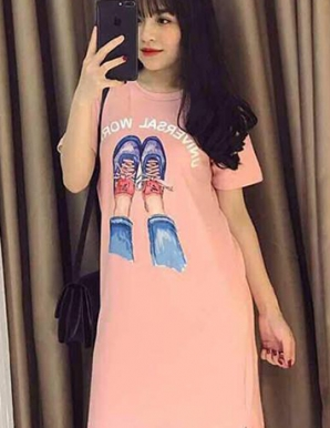 Đâm suông màu hồng in họa tiết giày-B6648