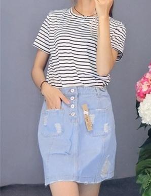 Chân váy jean phối túi rách-B6800
