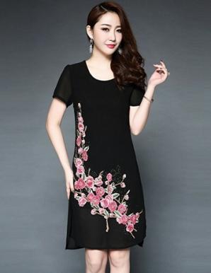 Đầm suông chinffon cao cấp thêu hoa- B6848