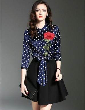 Đầm xòe thêu hoa hồng cột eo- B6849