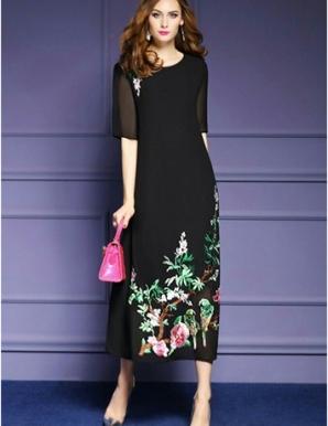 Đầm suông dáng dài chinffon cao cấp thêu hoa- B6850