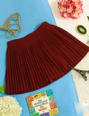 Chân váy ngắn Dập ly màu Đỏ-B6885
