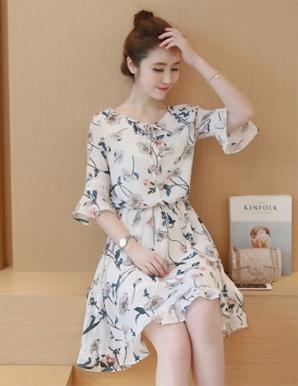 Đầm xòe tay loe họa tiết phối ren màu trắng - B6935