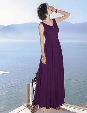 Đầm maxi cổ V cột nơ lưng màu tím- B7149