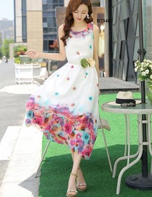 Đầm maxi oversize chân hoa kèm belt - B7348