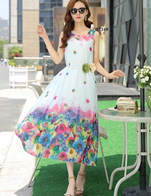 Đầm maxi oversize chân hoa kèm belt - B7349