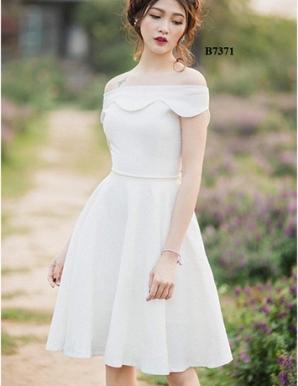 Đầm xòe bẹt vai gấm nổi sang trọng - B7371