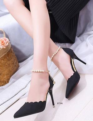 Giày cao gót gợn sóng ngọc trai- B7396