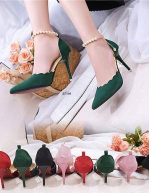 Giày cao gót gợn sóng ngọc trai- B7399