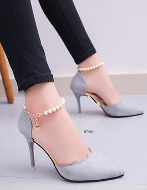 Giày cao gót gợn sóng ngọc trai- B7400