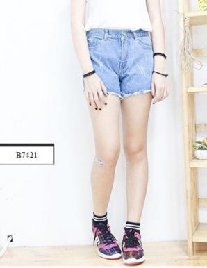 Quần short jean  nữ rách - B7421