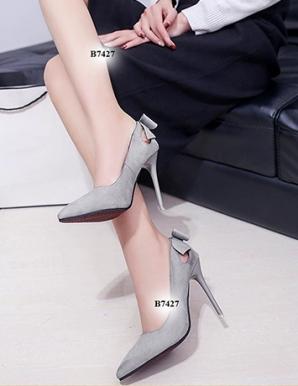 Giày cao gót khoét gót phối nơ- B7427