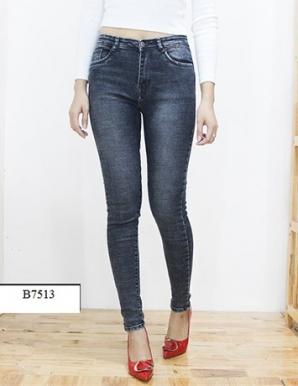 Quần jean thun trơn màu xanh đen- B7513