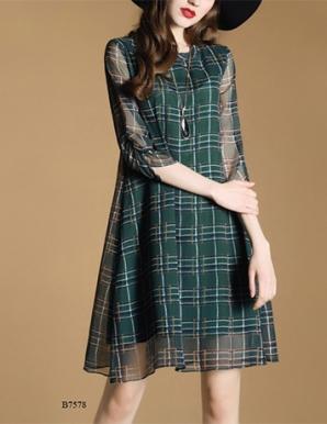 Đầm suông sọc ô vuông lạ mắt - B7578