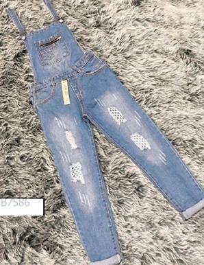 Quần Yếm jean dài phối lưới - B7586