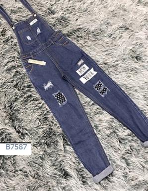 Quần Yếm jean dài phối lưới - B7587