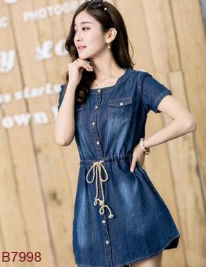 Đầm jean túi hộp cột eo- B7998